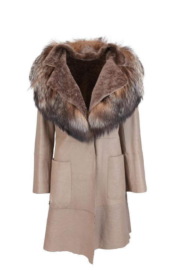 Kiton Tan Leather & Fur Collar Coat
