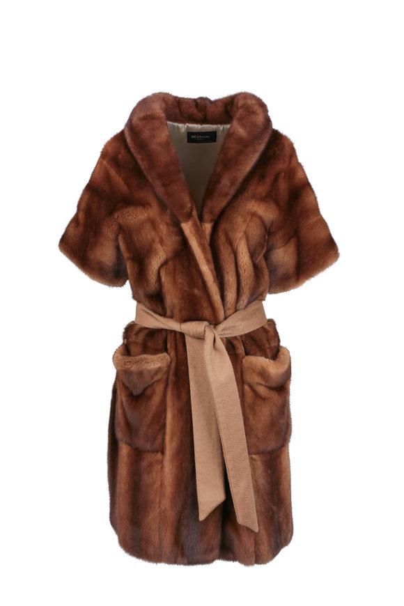 Kiton Walnut Mink Belted Short Sleeve Coat