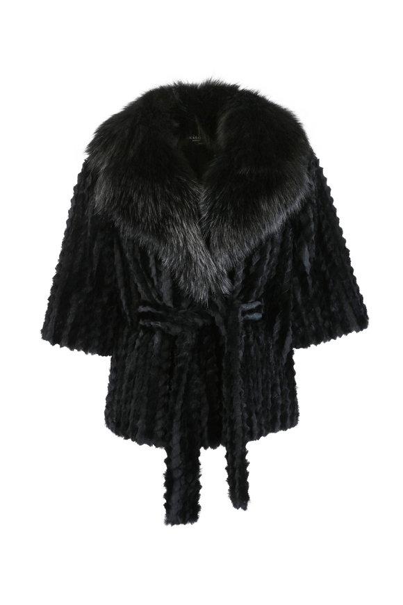 Kiton Black Fur Belted Jacket