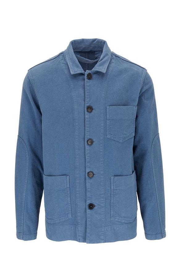 Altea Light Blue Moleskin Front Button Jacket