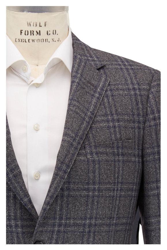 Samuelsohn Bennet Gray, Blue & White Plaid Wool Sportcoat
