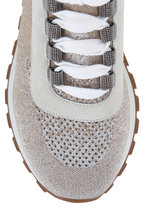 Brunello Cucinelli - Silver Brown Knit Sock Monili Sneaker