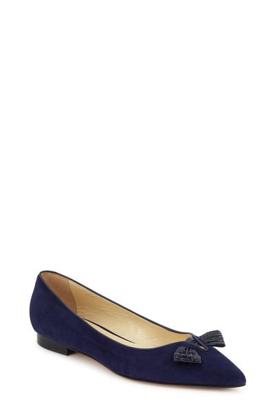 Sarah Flint - Lana Navy Blue Suede & Snakeskin Bow Flat