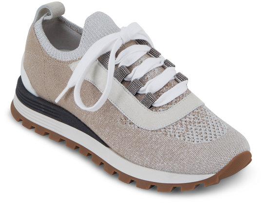 Brunello Cucinelli Silver Brown Knit Sock Monili Sneaker