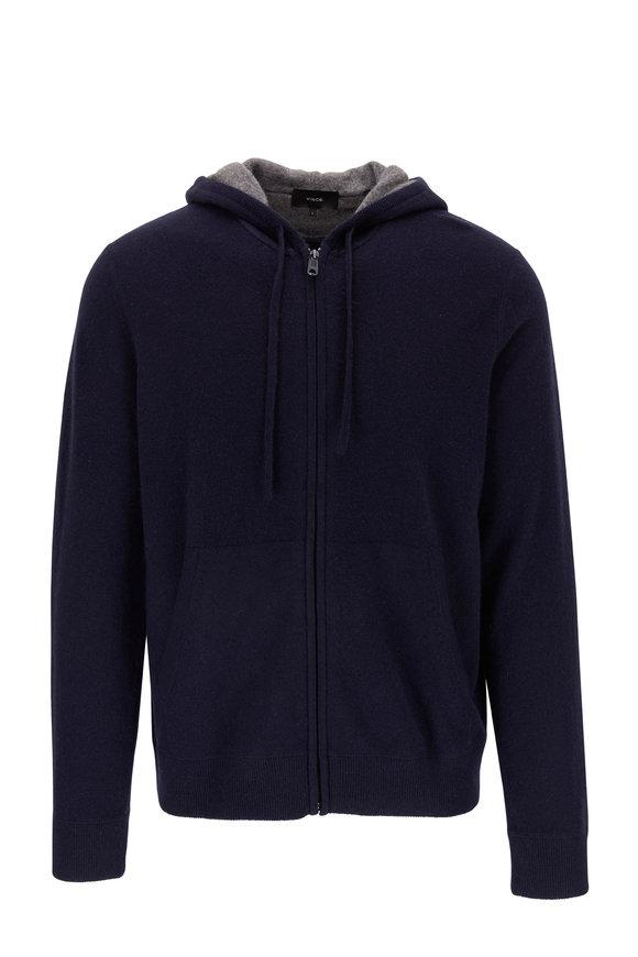Vince Coastal Blue Cashmere Front Zip Hoodie