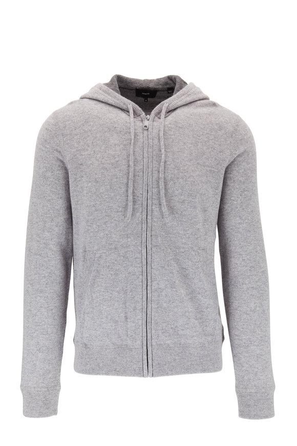 Gray Cashmere Front Zip Hoodie