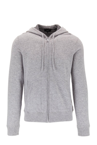 Vince - Gray Cashmere Front Zip Hoodie