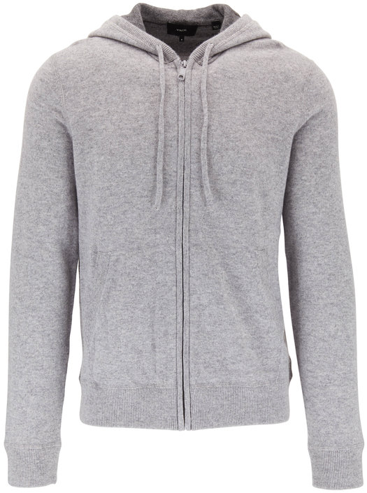 Vince Gray Cashmere Front Zip Hoodie