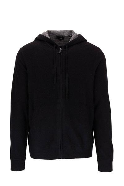 Vince - Black Cashmere Front Zip Hoodie