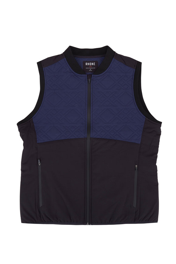 Rhone Apparel Midtown Black & Navy Zip Front Vest