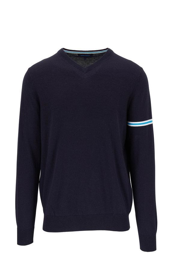 PYA Patrick Assaraf Navy Cotton & Cashmere V-Neck Pullover
