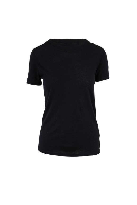 Majestic Black Cashmere Crewneck Deluxe T-Shirt