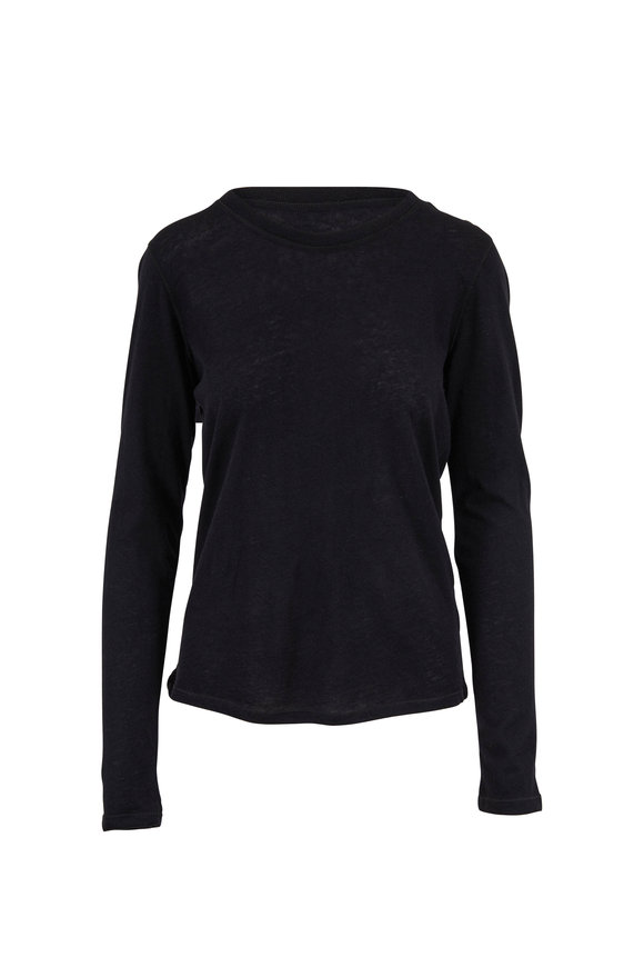 Majestic Black Cashmere Long Sleeve T-Shirt