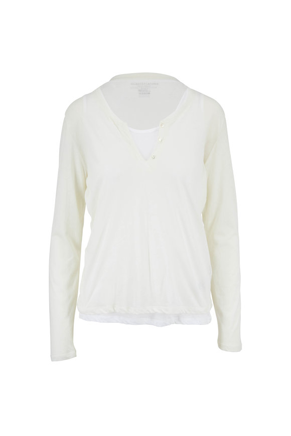 Majestic Cream Cotton & Cashmere Double Layer T-Shirt