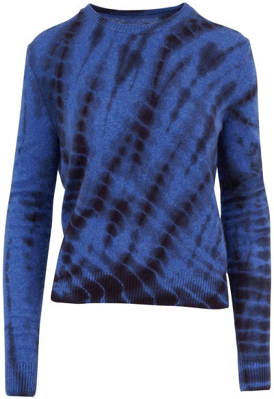 The Elder Statesman Azure & Black Cashmere Slash-Dye Sweater