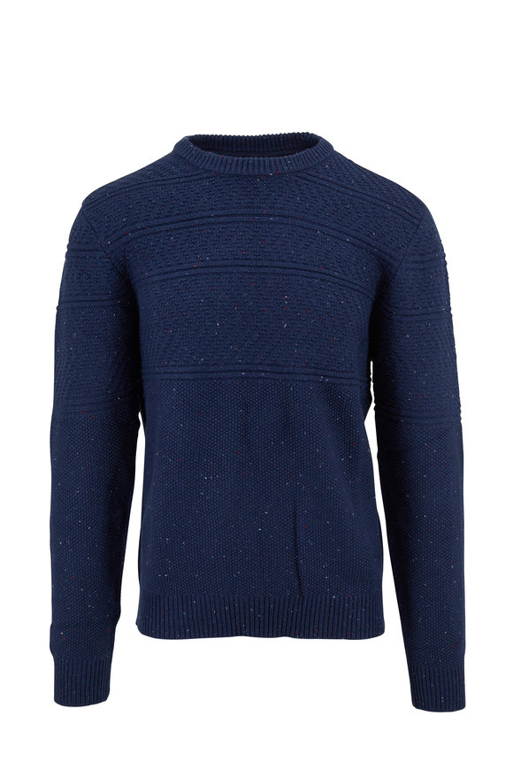 Faherty Brand Guernsey Longshore Blue Cotton Blend Pullover