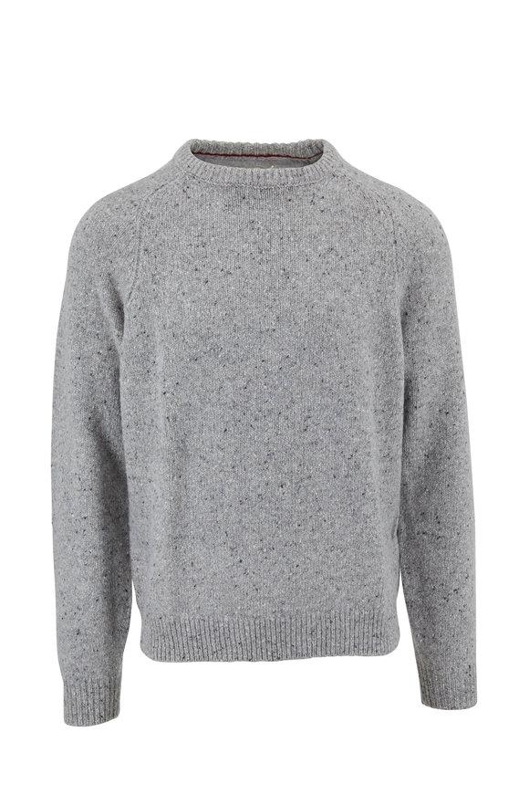 Faherty Brand Norfolk Gray Flecked Merino Crewneck Pullover