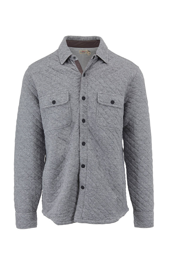 Faherty Brand Quilted Belmar CPO Gray Feeder Snap Overshirt