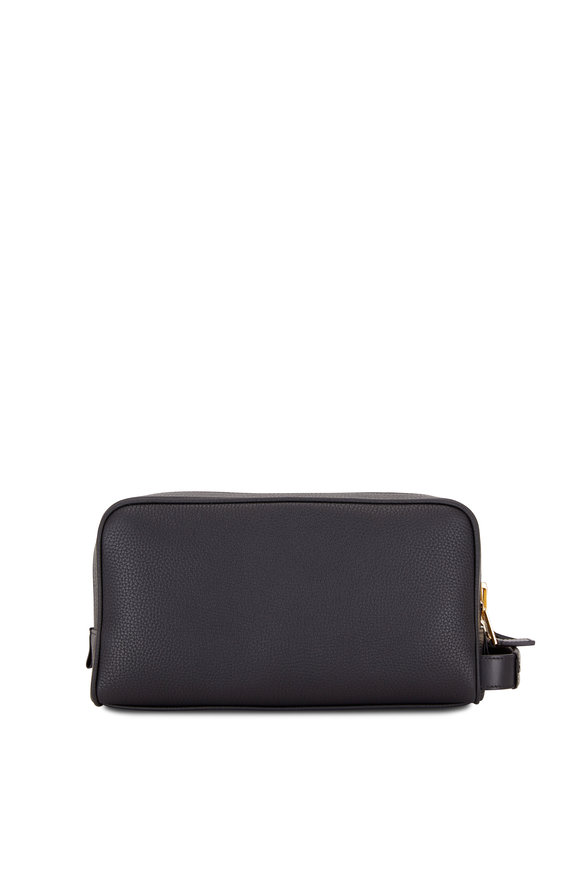 Tom Ford Black Grained Leather Double-Zip Large Case