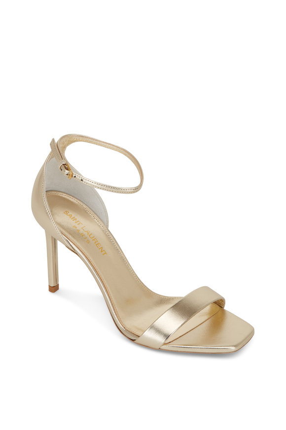 Saint Laurent Amber Platinum Leather Sandal, 85mm