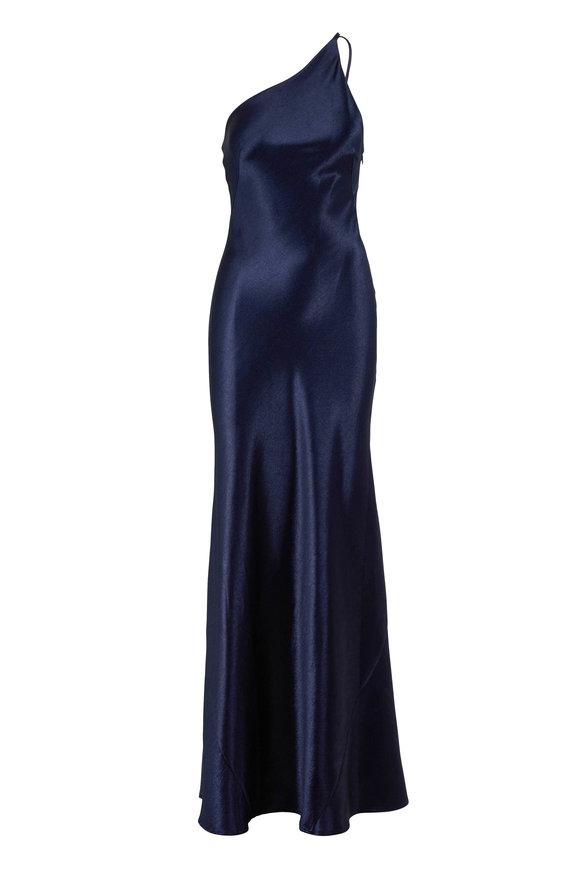 Galvan Roxy Midnight One-Shoulder Gown
