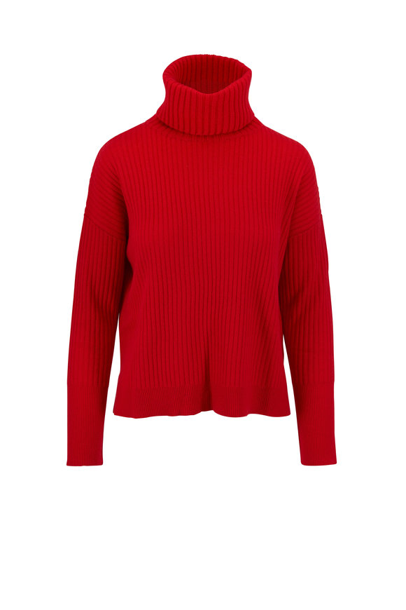 Raffi  Red Cashmere Ribbed Turtleneck Sweater