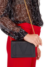 Valentino Garavani - VLOGO Black Leather Mini Crossbody Bag