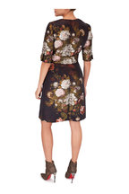 Dolce & Gabbana - Black Floral Jacquard Jeweled Belted Dress