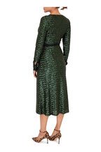 Andamane - Green Sequin Long Sleeve Wrap Dress