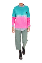 The Elder Statesman - Turquoise & Pink Dip-Dyed Palm Cashmere Sweater