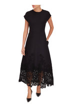 Valentino - Black Embroidered Lace Hem Cap Sleeve Dress
