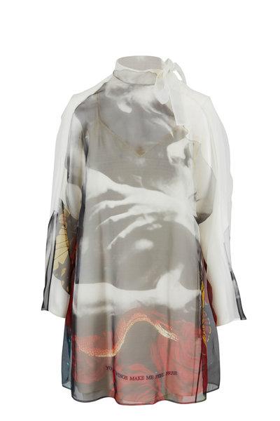 Valentino - Lovers Print Organza Overlay Runaway Dress