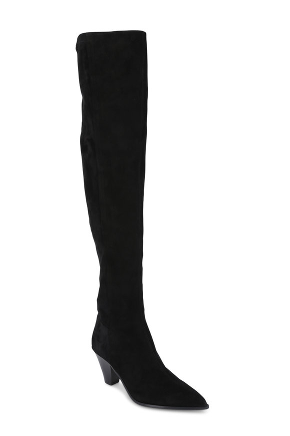 Aquazzura Shoreditch Black Suede Over-The-Knee Boot, 70mm