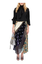 Chloé - Beige & Blue Mixed Media Silk Flower Print Skirt