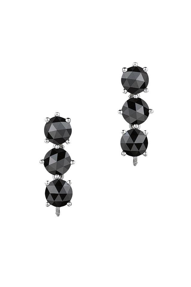 White Gold Black Diamond Drop Earrings