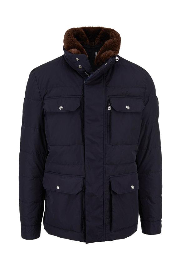 Moncler Jeanmarc Dark Blue Fur Collar Four Pocket Jacket
