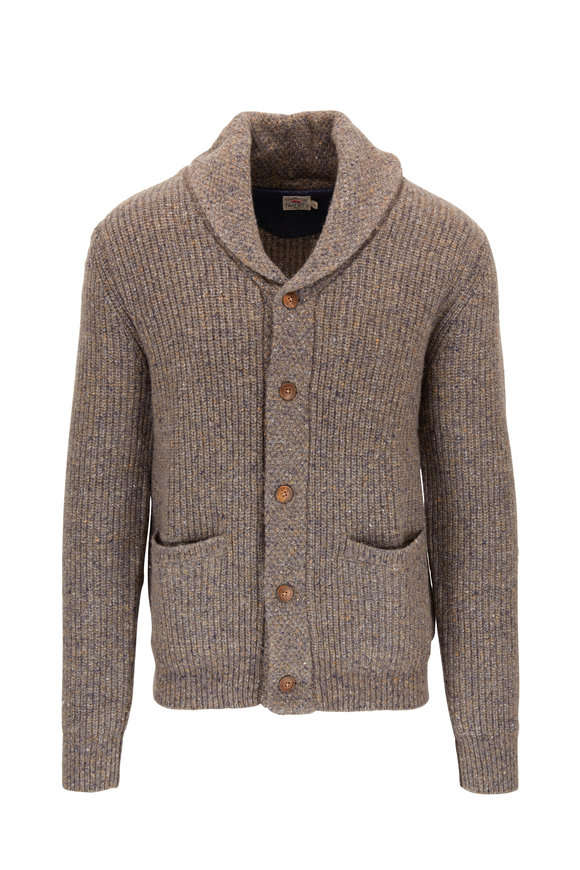 Faherty Brand Flecked Ribbed Merino Tweed Shawl Collar Cardigan