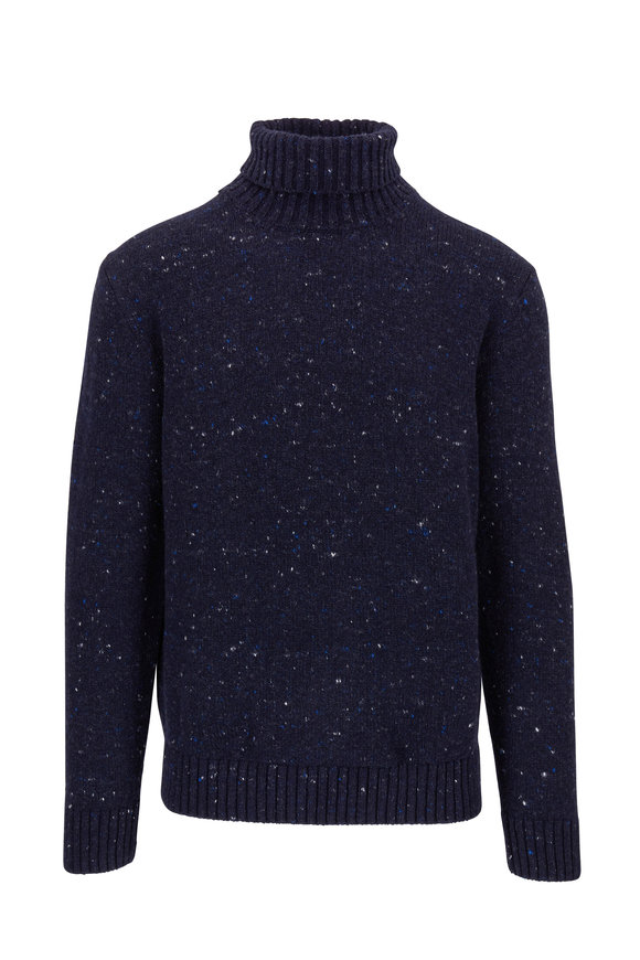 Inis Meain Knitting Co. Navy Melange Wool & Cashmere Turtleneck