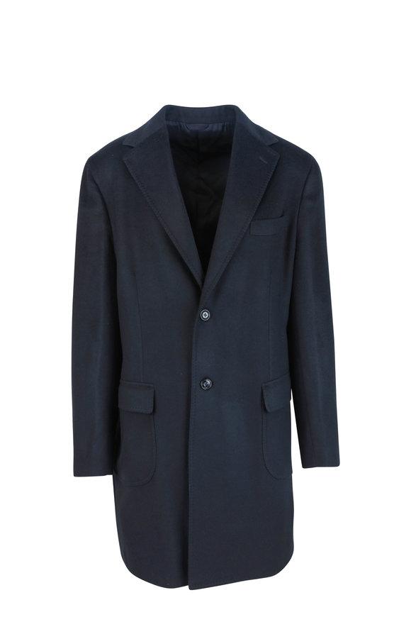 Barba Navy Blue Cashmere Coat