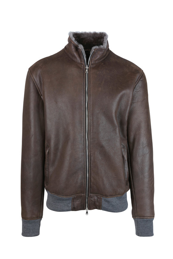 Barba Brown Leather & Shearling Stand Collar Jacket