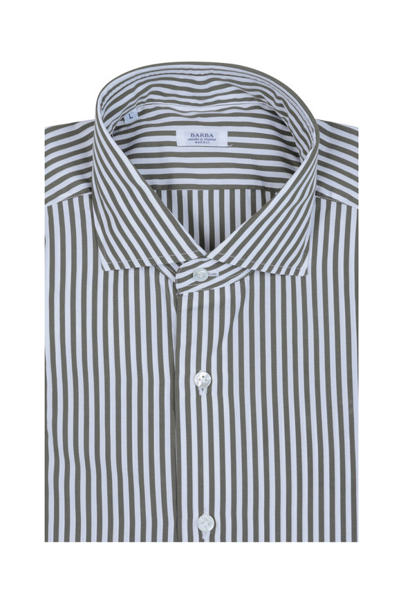 Barba Olive Green Striped Sport Shirt