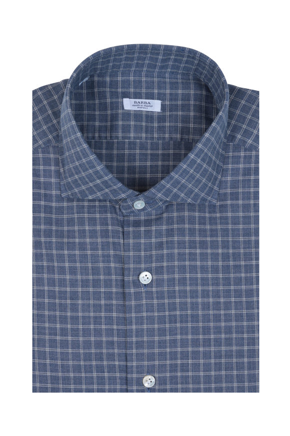 Barba Slate Check Sport Shirt