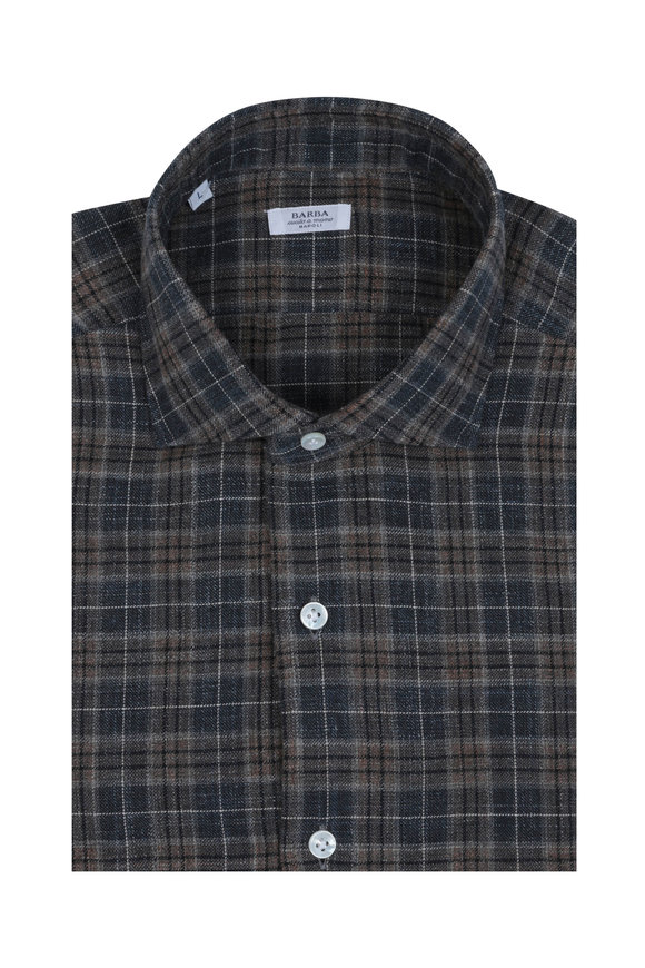 Barba Brown & Navy Plaid Sport Shirt