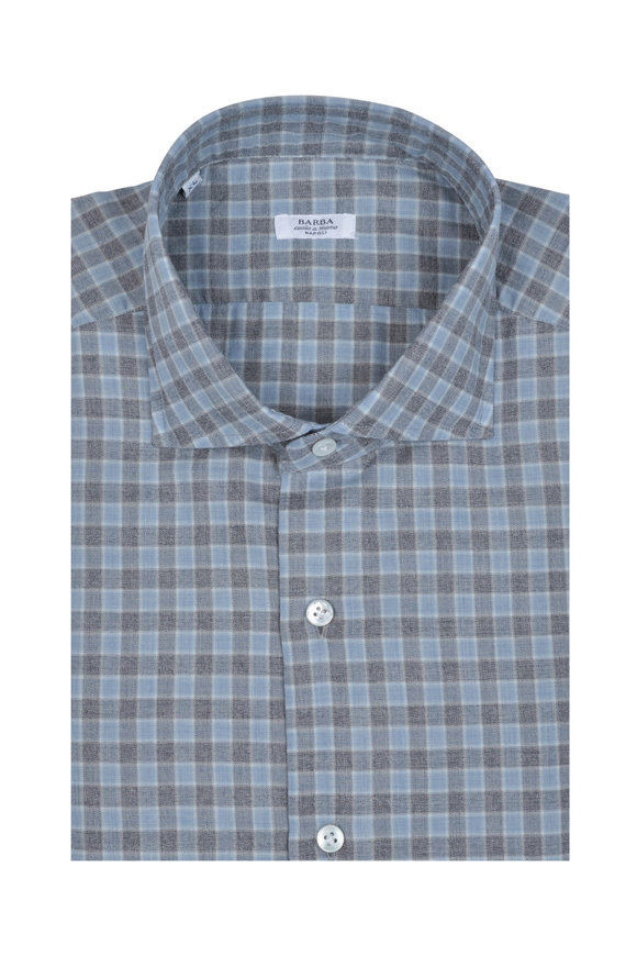 Barba Light Blue & Gray Check Sport Shirt