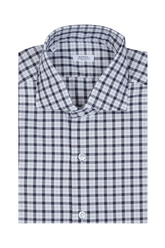 Barba Black & White Check Sport Shirt