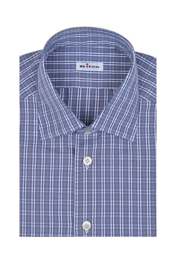 Kiton Blue & Gray Check Dress Shirt