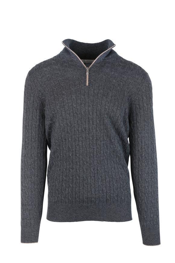 Brunello Cucinelli Charcoal Gray Ribbed Cashmere Quarter-Zip Pullover