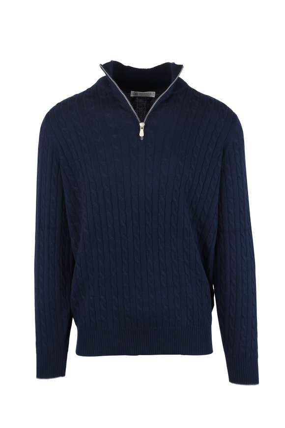 Brunello Cucinelli Navy Blue Ribbed Cashmere Quarter-Zip Pullover