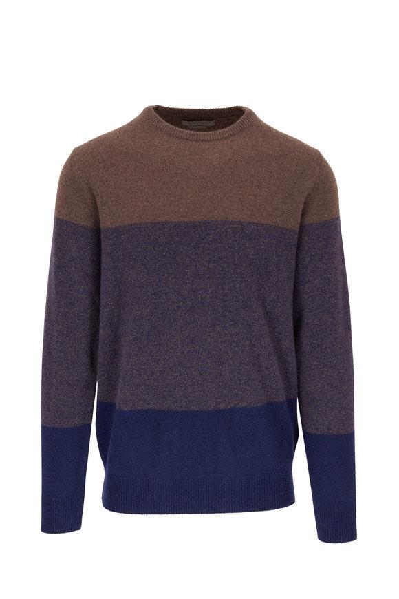 Corneliani Navy & Brown Colorblock Cashmere Pullover