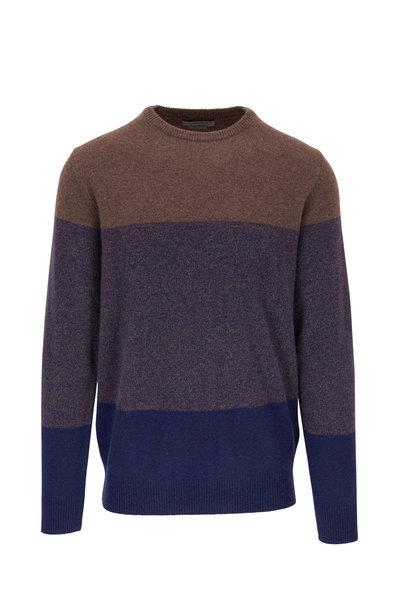 Corneliani - Navy & Brown Colorblock Cashmere Pullover